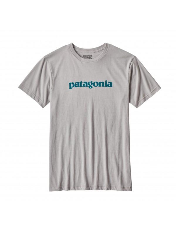 Patagonia Mens Drifter Grey Text Logo Cotton/Poly T-Shirt