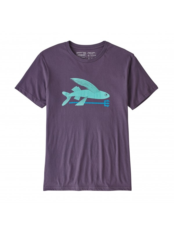 Patagonia Mens Piton Purple Flying Fish Organic Cotton T-Shirt