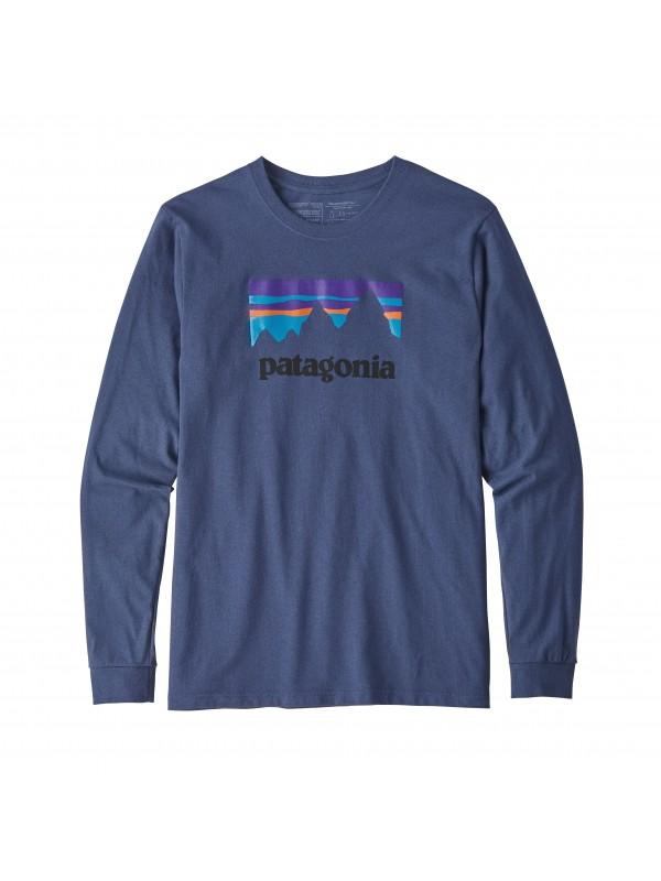 Patagonia Dolomite Blue Long-Sleeved Shop Sticker Responsibili-Tee