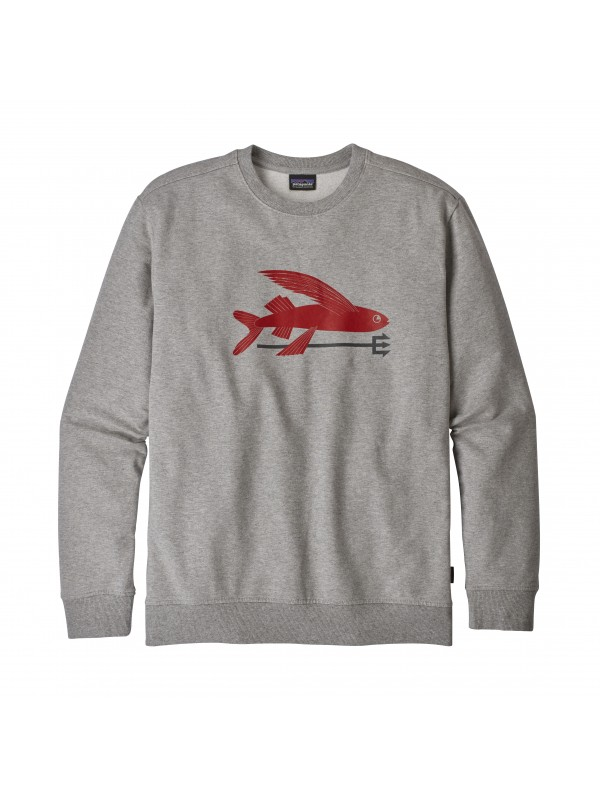 Patagonia Feather Grey w Classic Red Flying Fish Midweight Crew Sweatshirt