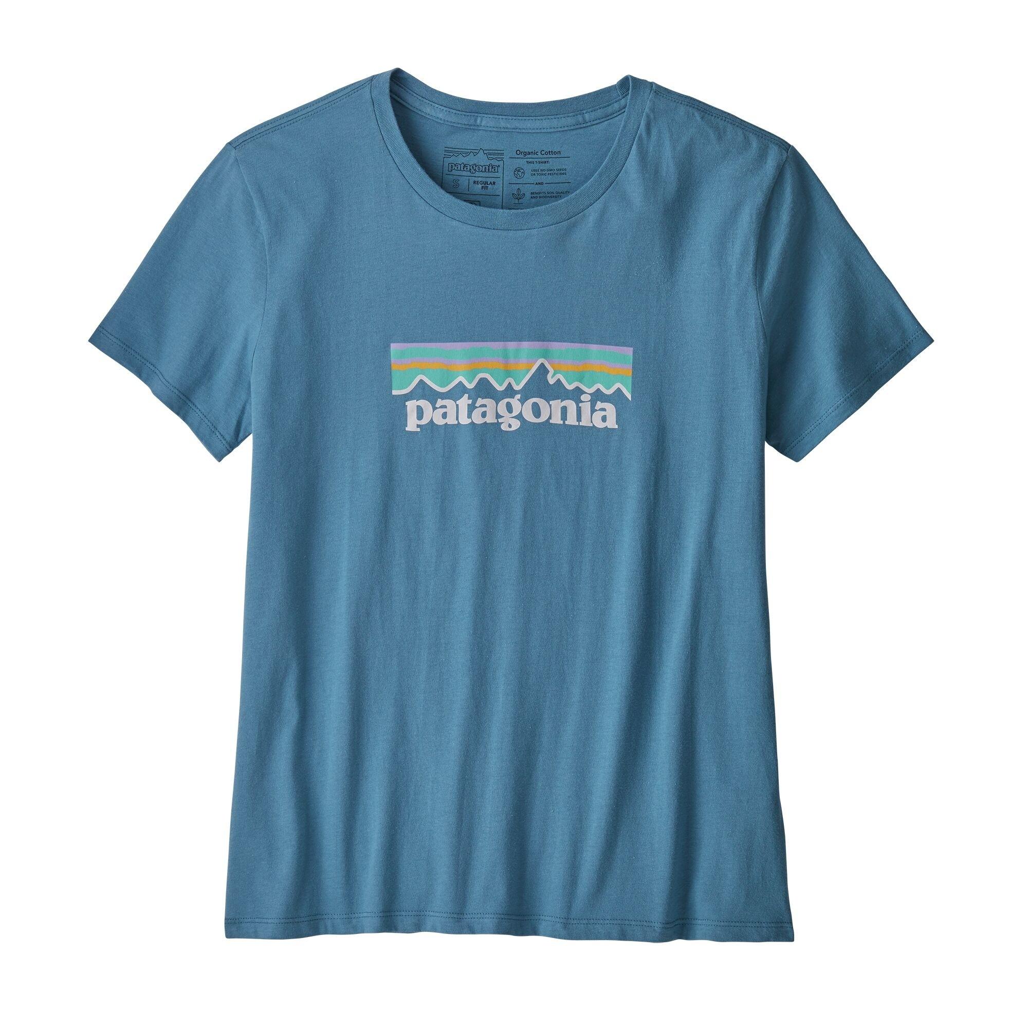 Patagonia Women's Pastel P-6 Logo Organic Cotton Crew T-Shirt : Woolly Blue