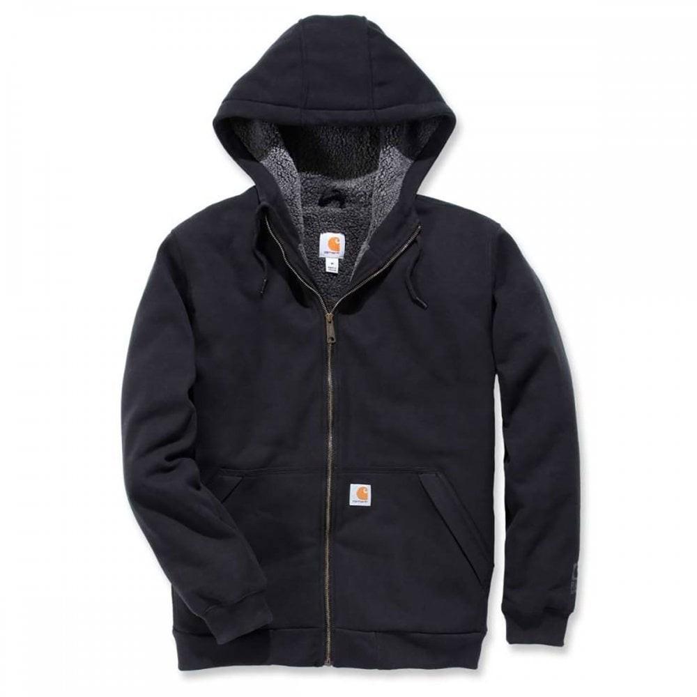 Carhartt Sherpa Lined Full Zip Hooded Sweatshirt : Black