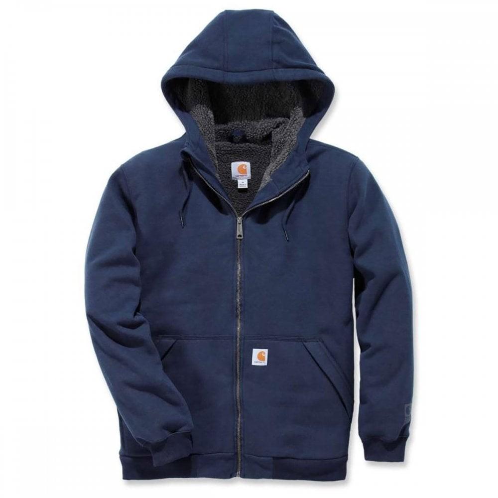 Carhartt Sherpa Lined Full Zip Hooded Sweatshirt : New Navy