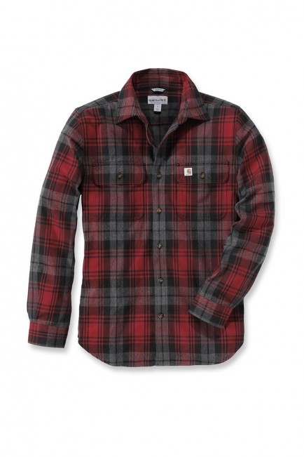 Carhartt  Hubbard Slim Fit Flannel Shirt : Dark Crimson