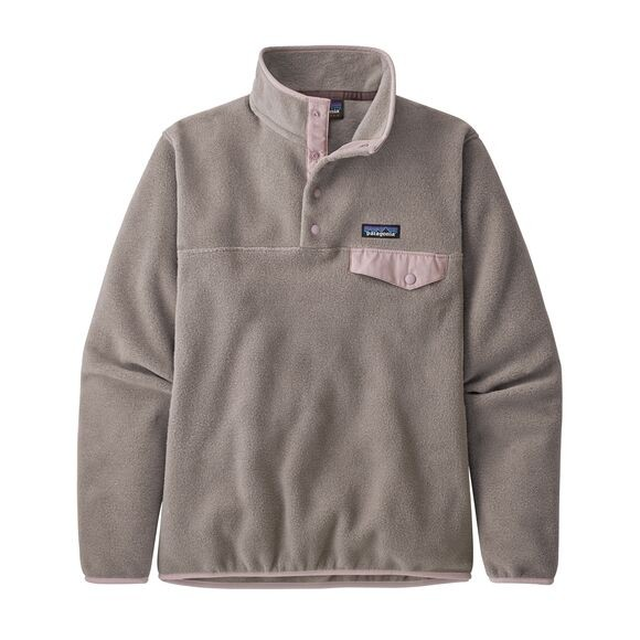 Patagonia Women's Lightweight Synchilla Snap-T Fleece Pullover: Furry Taupe w/Hazy Purple