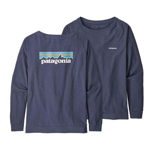 Patagonia Womens Long-Sleeved Pastel P-6 Logo Responsibili-Tee : Dolomite Blue