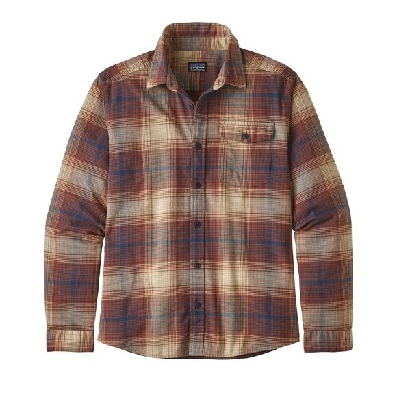 Patagonia Mens  L/W Fjord Flannel Shirt : Canopy: Sisu Brown