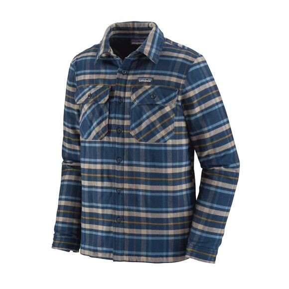 Patagonia Insulated Fjord Flannel Shirt Jacket : Independance: New Navy