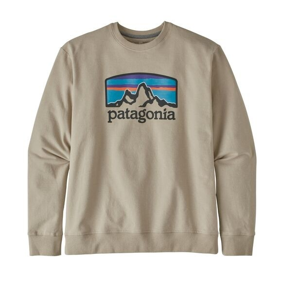 Patagonia Men's Fitz Roy Horizons Uprisal Crew Sweatshirt: Pumice