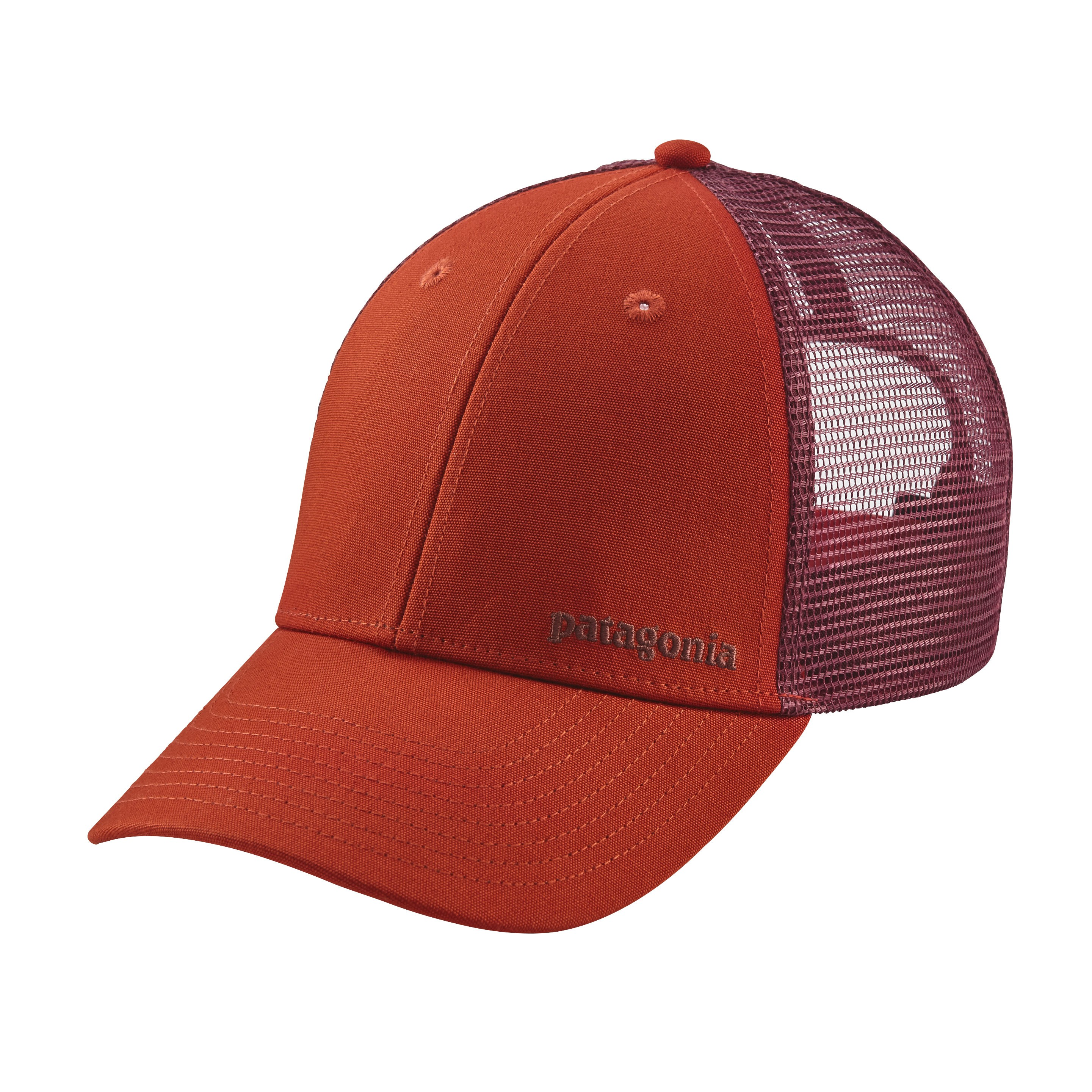 Patagonia Small Text Logo LoPro Trucker Hat : Roots Red
