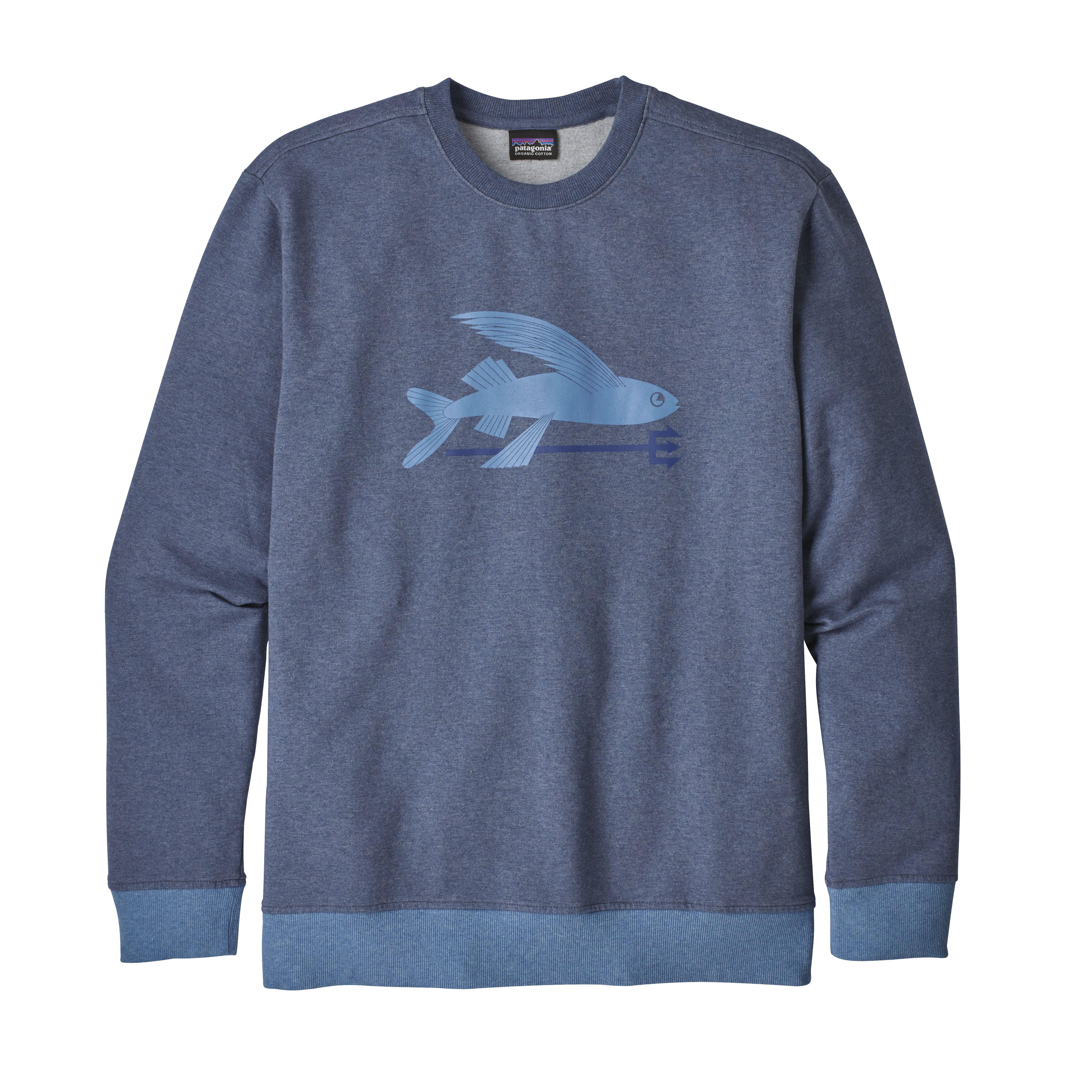 Patagonia Dolomite Blue Flying Fish Midweight Crew Sweatshirt